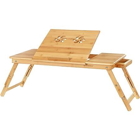 SONGMICS LLD004 Table d'ordinateur Portable Pliable et réglable en Hauteur avec Trous d'aération pour gaucher et droitier, Table de lit en Bambou avec tiroir, 72 x (21-29) x 35 cm