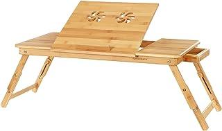 SONGMICS Table de lit pliable, Petite table en bambou pour ordinateur portable, pour Gaucher et Droitier, Plateau ajustabl...