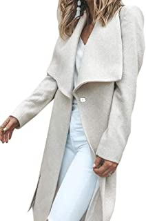 Women Lapel Button Casual Long Sleeve Jacket Woolen Coat Outwear Tops Outwear