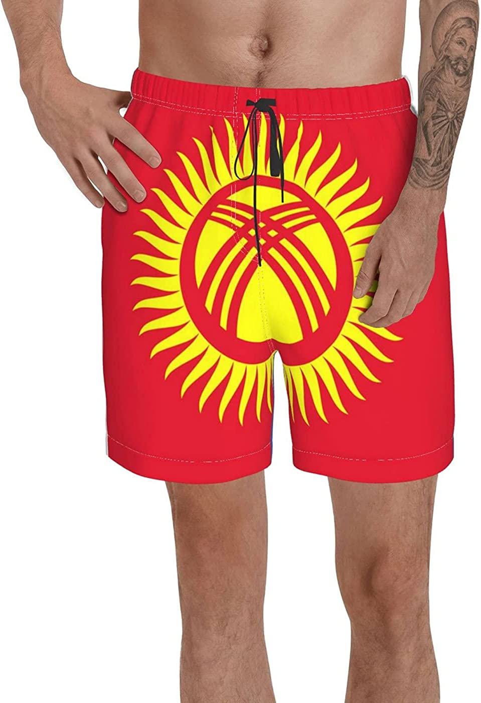 Count Kyrgyzstan Flag Men's 3D Printed Funny Summer Quick Dry Swim Short Board Shorts with