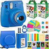 FujiFilm Instax Mini 9 Instant Camera + Fuji Instax Film (40 Sheets) + DNO Accessories Bundle - Carrying Case, Color Filters, Photo Album, Stickers, Selfie Lens + More (Cobalt Blue)
