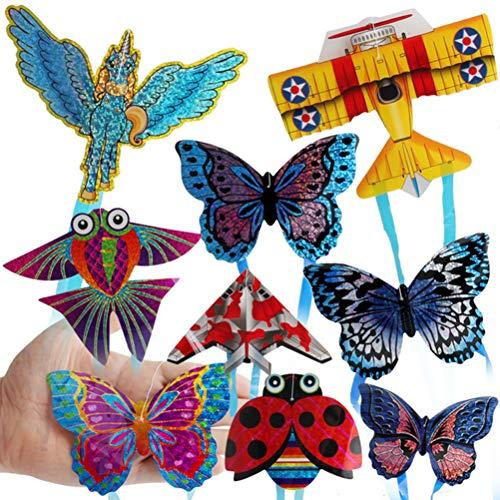 MAOJIE Juguetes Educativos 9 Piezas de Color Aleatorio Al Aire Libre Mini Cometa Volando Juguetes para NiñOs Juguete Interactivo AvióN de Dibujos Animados Mariposa Insecto Mini Cometas