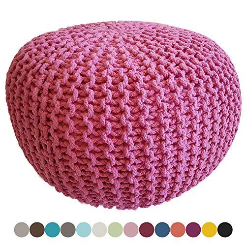 Strickhocker Pouf Sitzpouf Sitzpuff Grobstrick-Optik Ø 55 cm extrahoch Höhe 37 cm Farbe pink