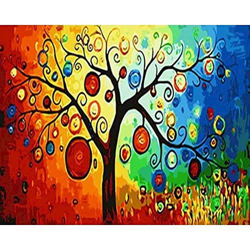 Pintura de árbol por números Temporadas con marco Kits de bricolaje sobre lienzo Pintura acrílica para adultos Colorear por números Decoración Arte W3 60x75cm