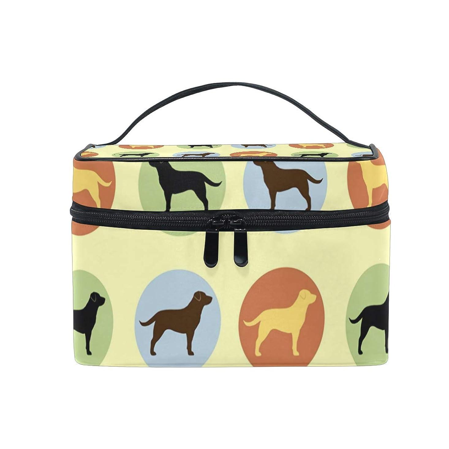 無法者達成する謙虚メイクボックス ラブラドール犬柄 化粧ポーチ 化粧品 化粧道具 小物入れ メイクブラシバッグ 大容量 旅行用 収納ケース