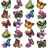 Boao 20 Calcomanías de Ventana de Mariposa Flores de Anticolisión de Tamaño Grande para Evitar Choques de Pájaros en Vidrio de Ventana Decoración de Pegatina de Mariposa de Vinilo No Adhesivo