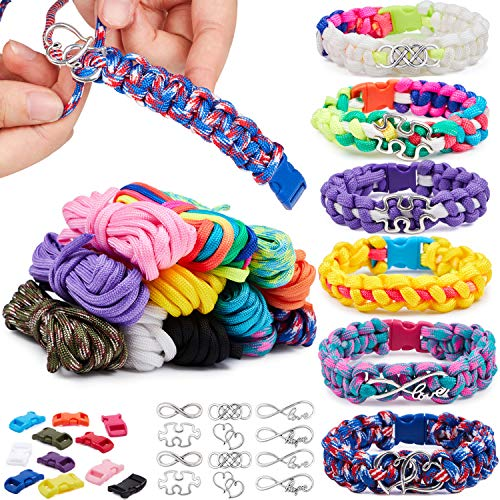 12 Colors Paracord Bracelet Making Kit DIY Friendship Bracelets Set for Girls Charm Jewelry Making Kit Birthdays Gifts Art and Crafts for Teen Kids Age 8+