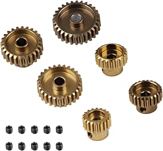 48DP Motor Pinion Gears 18T 20T 22T 24T 26T 28T 3.175mm Brushed Brushless Motor Pinion Gears Set for 1:10 S CS R31 SCX10 AX10 RC Drift Racing Car Off-Road Climber Short Truck