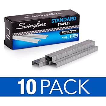 "Swingline Staples, Standard, 1/4"" Length, 210/Strip, 5000/Box, 10 Pack (35111) Packaging may vary"