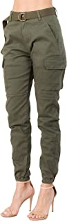 Women's High Rise Slim Fit Color Jogger Pants with Matching Belt - Size Small to 3X