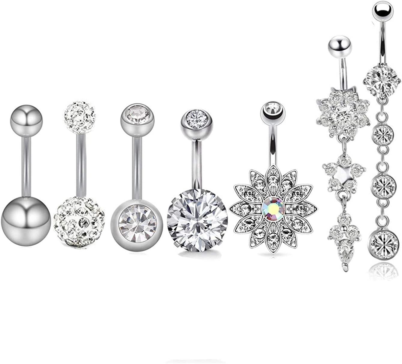 Belly Button Rings for Women Navel Piercing Bars Stainless Steel Body Jewelry