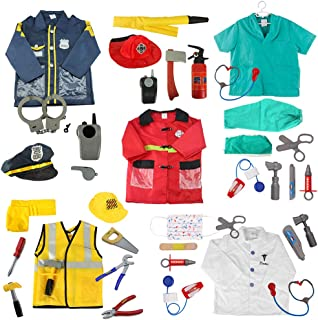 5 Sets Role Play Costume for Kids Policeman Fire Chief Engineer with Accessories Blue