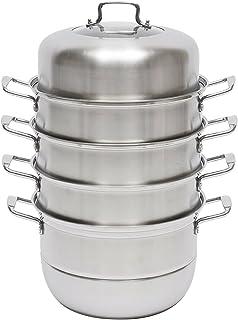 SHZICMY Cuiseur vapeur 5 étages en acier inoxydable 32 cm empilable avec couvercle en verre