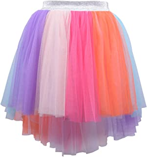 Kids Girls Hi-Low Rainbow Tutu Skirt Toddler Birthday Princess Costume Colorful Tulle Pettiskirt