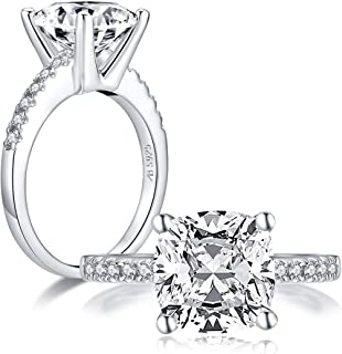 AINUOSHI 3.5 Carat Square Cushon Cut Cubic Zirconia CZ Sterling Silver Solitaire Engagement Ring Sizes 5 to 10