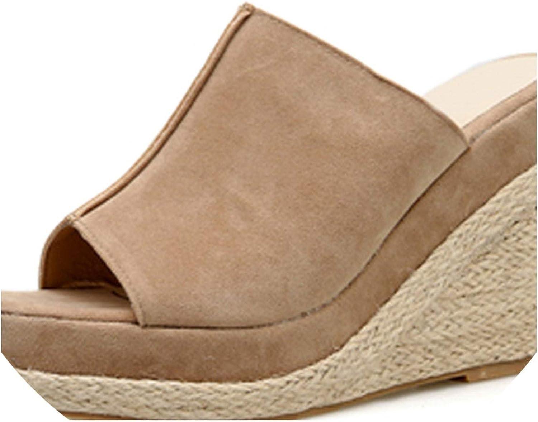 RAINIE002 Women Sandalssummer Wedge Sandals Gladiator Sandals Sexy Wedges Ladies Sandals Apricot Black Size 34-39