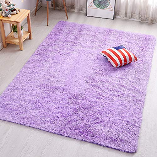 PAGISOFE Soft Fuzzy Purple Area Rugs for Kids Room Girls Bedroom Fluffy Floor Rugs Shag for Dorm Baby Nursery Fur Rugs Cute Plush Rug Decorative Accent Rug Thick Shaggy Carpet 4' x 5',(Purple)