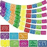 Boao 6 Paquetes Banderas de Fiesta de Mexicana Bandera de Plástica de Fiesta Guirnaldas de Papel Picado de Plástica Grande de Mexicana para Suministros de Fiesta