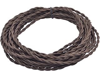 32.8ft Brown Twisted 18/2 Rayon Covered Wire,HESSION Antique Industrial Electrical Cloth Cord,Vintage Style Lamp Cord Strands