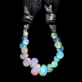 Jaguar Gems AAA Natural Ethiopian Welo Opal Stone Tear Drop Beads, Beads for Jewelry Making Project, Beads for DIY-Crafts, Loose Gemstones, Fire Play Tear Drops, Handcrafted Mini Mala Strand (5cts)