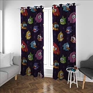 Funny Blackout soundproof Curtain Angry Flying Birds Figure Various Expressions Game Toy Kids Ba ish Artsy Image Living, Dining Room, Bedroom Curtains Multicolor