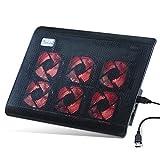 RooLee ノートパソコン 冷却パッド 冷却台 ノートPCクーラー USBケーブル付き クール 超静音 USBポート2口 USB接続 LED搭載 高度調節可 風量調節可 超薄型デザイン15.6インチ型まで対応 6ファン PS3 PS4 1100RPM 12ヶ月保証