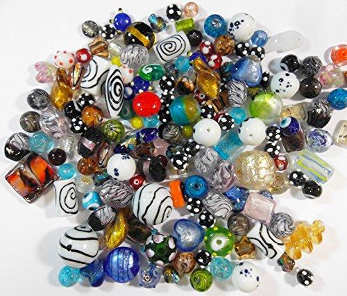 1 Kilo POSTEN PERLEN Glas GLASPERLEN Beads Fancy SILBERFOLIE Mix LAMPWORK NEU