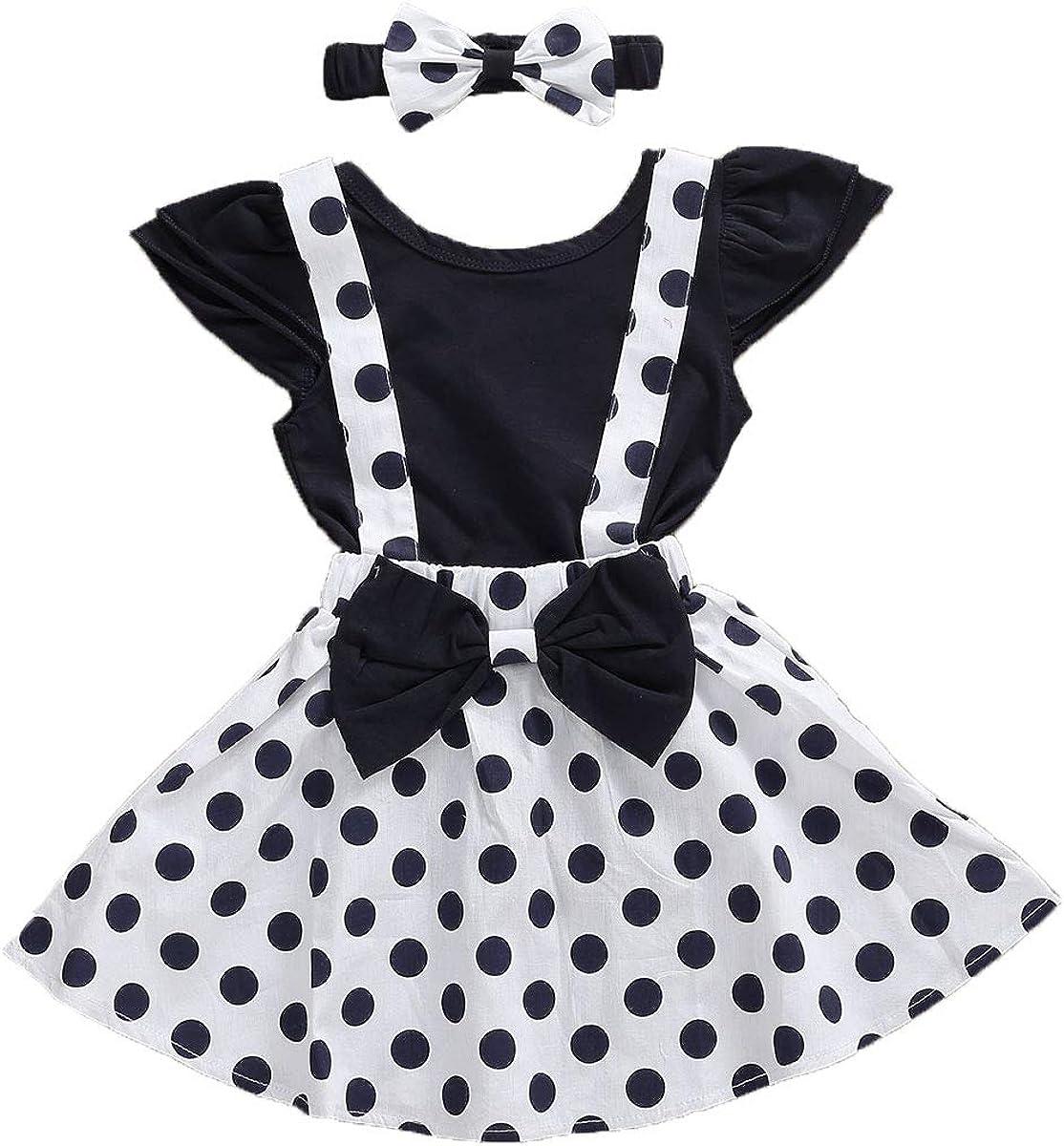 Baby Girls Skirts Set Ruffle Romper Tops + Printing Polka Dot Suspender Skirt + Bow Knot Headband 3Pcs Clothes Set