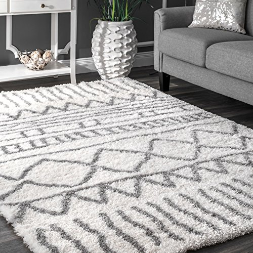 "nuLOOM Soft and Plush Geometric Drawings Shag Area Rugs, 5' 3"" x 7' 6"", Grey"
