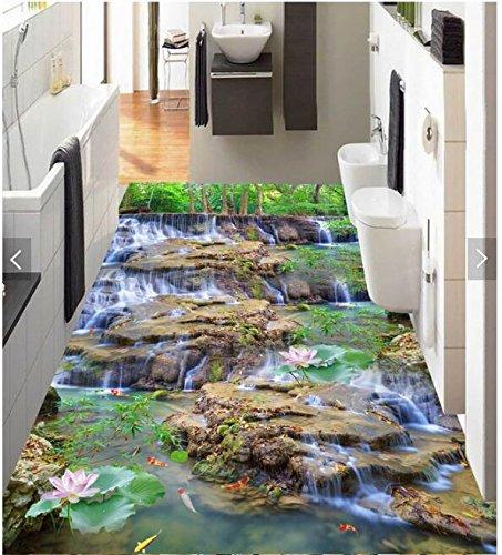 3D PVC Bodenbelag Schlafzimmer benutzerdefinierte Foto wasserdicht Boden Aufkleber Wasserfall Lotus Karpfen Dekoration Malerei wall3D Muralr für Wände 3d-360 X 280CM