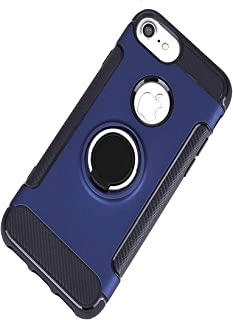 Phone Case Compatible iPhone6G /6PLUSwith 360 Rotating Ring Kickstand Carbon Fibre Magnetic Heavy Duty Full Protective Case Cover Compatible for iPhone 6G/ 6PLUS (Deep Blue, iphone6plus/7plus/8plus)