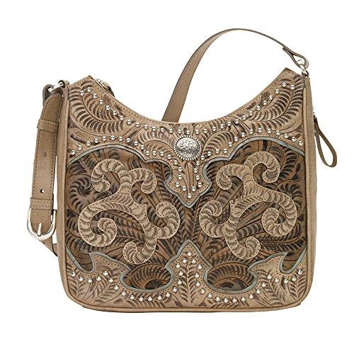American West Women's Annie's Secret Collection Shoulder bag w/Secret Compartment Sand/Distressed Charcoal Brown/Light Blue One Size