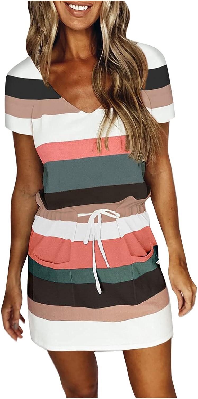 Tuscom Lady Basic V Neck Belted Office Dress with Pockets Short Sleeve Party Slim Dress