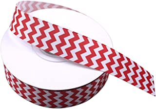 Red and White Chevron Ribbon, Printed Grosgrain Ribbon 1 Inch, Christmas Ribbon for Hair Accessories Gift Wrapping Package Party Wedding Holiday Crafts Decoration 25 Yards