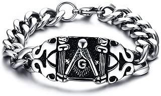 Chunky Stainless Steel Masonic Freemason Symbol Polished Chain Link Bracelets for Men, 8.2