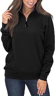 Women's Long Sleeves Collar Quarter 1/4 Zip Solid Hoodies Fleece Pullover Sweatshirts with Pockets(S-2XL)