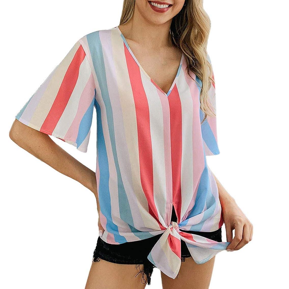Summer Tops for Women 2019 Tronet Women Summer Stripe Printing V Neck Short Sleeve Shirt Casual Tunic Tops Blouse