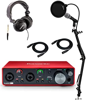 Focusrite Scarlett 2i2 3rd Gen 2x2 USB Audio Interface with Headphones, Microphone, Knox Studio Stand, 2 XLR Cables and Pop Filter (7 Items)