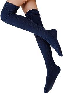 Mujeres Chica de Favorito: Calentador de la Pierna Suave Tejer croché Legging Calcetines Medias (Armada (Navy))