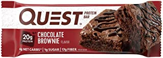 Quest Nutrition Protein Bar, Chocolate Brownie, 20g Protein, 5g Net Carbs, 180 Cals, 2.1oz Bar, 1 Count, High Protein, Low...
