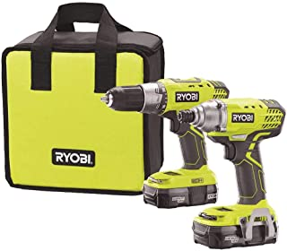 Ryobi P1832 18V One+ Handheld Drill/Driver and Impact Driver Kit (6 Piece Bundle, 1x P277..