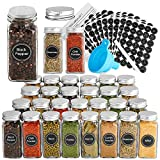 LEQEE 30 Pcs Glass Spice Jars with 396 Spice Labels,4oz Empty Square Spice Containers with Shaker Lids and Airtight Metal Caps,Chalk Marker and Funnel Included