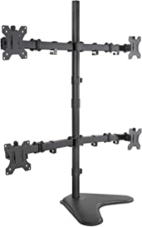 Mount-it! 4 Monitor Free Standing Desk Mount | Quad Monitor Stand | Fits Four Computer Screens 19 21 24 27 29 30 32 Inches | Heavy Duty Height Adjustable | VESA 75 100 Compatible
