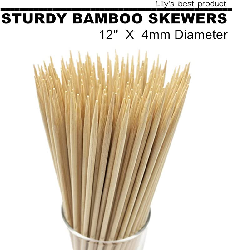 12 Natural Bamboo Skewers For BBQ Appetiser Fruit Cocktail Kabob Chocolate Fountain Grilling Barbecue Kitchen Crafting And Party 4mm More Size Choices 6 8 10 14 16 100 PCS