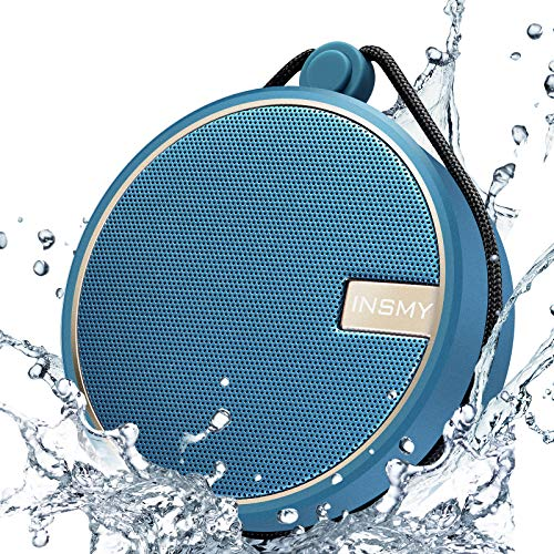 INSMY Portable IPX7 Waterproof Bluetooth Speaker, Wireless Outdoor Speaker Shower Speaker, with HD Sound, Support TF Card, Suction Cup, 12H Playtime, for Kayaking, Boating, Hiking (Navy)
