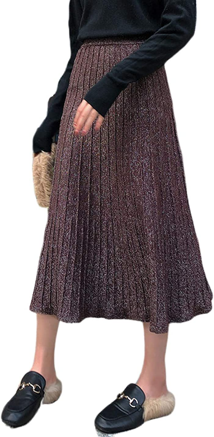 PUWEI Women's High Waist Casual Pleated Shiny Metallic Midi Ribbed A Line Skirt