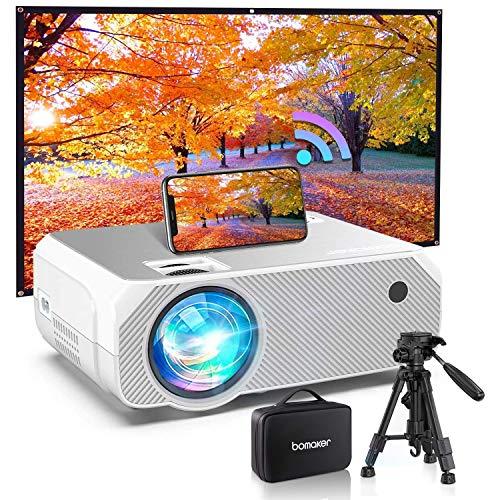 Bomaker Proyector WiFi 6000 Lúmenes Full HD 1080 Resolución Nativa 720P Inalámbrico Mini Cine en Casa Portátil, Pantalla de 300 Pulgadas, HDMI/USB/VGA/AV/Micro SD con Pantalla Regalo