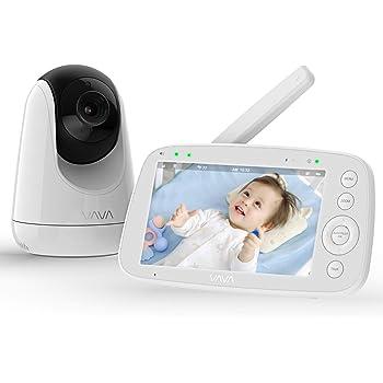 Babyphone mit Kamera, VAVA 5 Zoll Video Baby Monitor, 720P IPS HD Display, Nachtsicht, Weitwinkelobjektiv, 300M Reichweite, Zwei Wege Audio, 4500 mAh Akku, Temperatursensor, Ein-Klick-Zoom Funktion