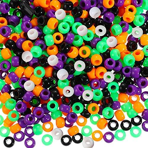 500 perline a forma di pony per Halloween, 6 x 9 mm, colorate con ampio foro per gioielli, bracciali, collane, portachiavi, fai da te (5 colori)