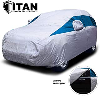 Titan Lightweight Car Cover (Bondi Blue). Mid-Size SUV. Fits Ford Explorer, Jeep Grand Cherokee, and More. Waterproof Cover Measures 206 Inches and Driver-Side Door Zipper.
